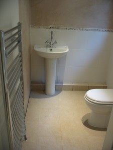 Toilet, sink and towel rail view